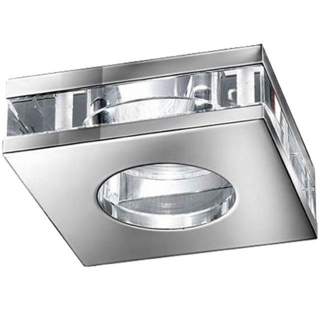 RF311 Recessed Square LED Downlight In Chrome With Crystal Glass Discs