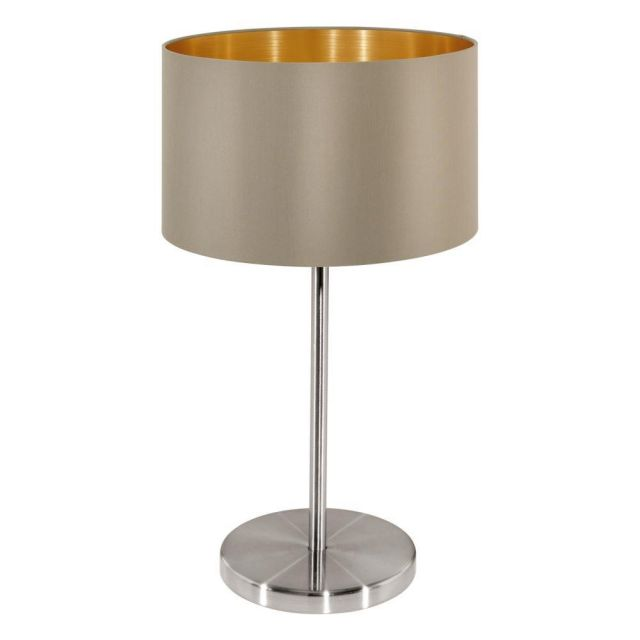 Eglo 31629 Maserlo One Light Table Lamp In Satin Nickel With Taupe And Gold Shade