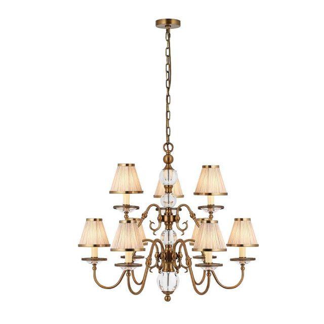 Interiors 1900 70820 Tilburg Antique Brass 9 Light Ceiling Pendant Light In Brass With Beige Shades