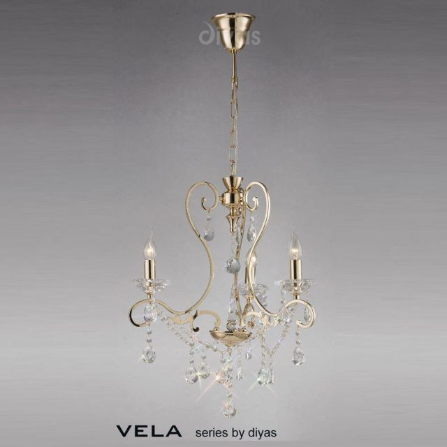 Diyas IL32063 Vela Crystal Chandlier Light in French Gold