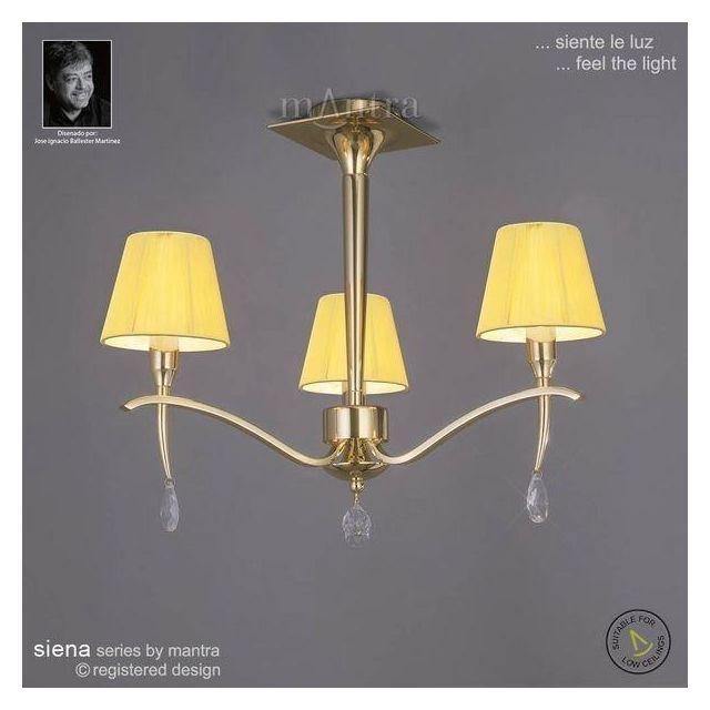 M0346PB Siena Polished Brass 3 Lt Semi-Flush Lamp With Shades