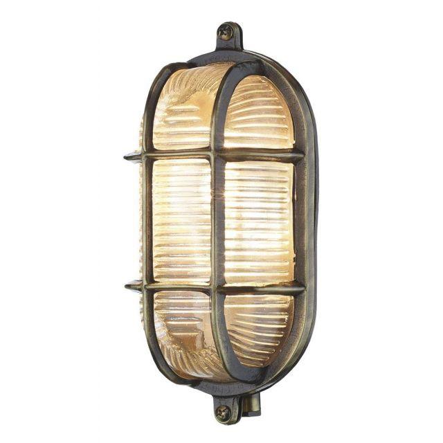 David Hunt Lighting ADM5275 Admiral Antique Brass Oval Outdoor Wall Light IP64
