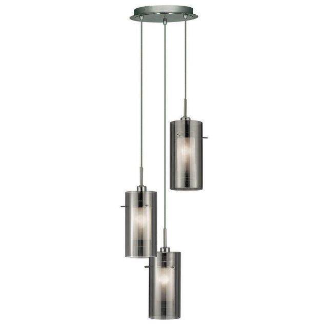 Searchlight 2300-3SM Duo 2 Multi-drop 3 Light Ceiling Pendant with Cylinder Shades