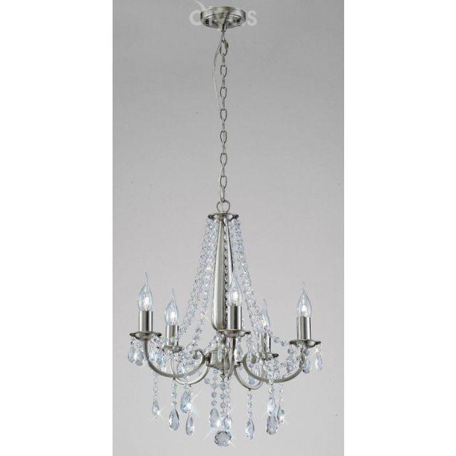 Diyas IL30975 Kyra Crystal Ceiling Pendant Light in Satin Nickel