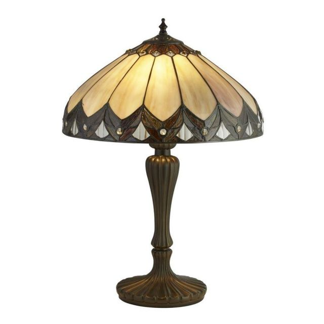 Searchlight 6705-40 Pearl Large Table Lamp In Antique Brass With Tiffany Glass - H: 560mm