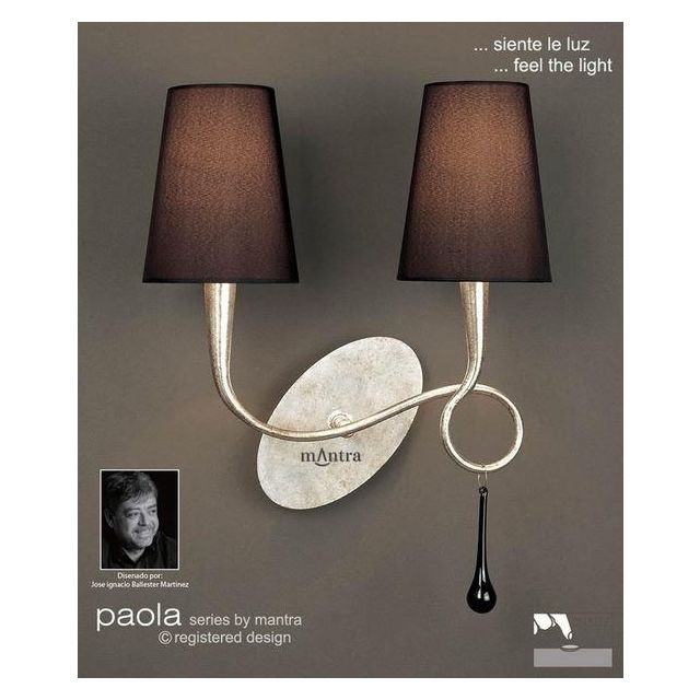 M0537/S Paola 2 Lt Silver Switched Wall Lamp With Black Shades