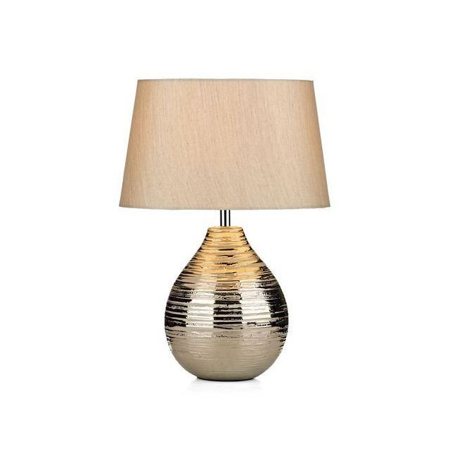 Dar GUS4032 Gustav Small Table Lamp With Ceramic Silver Base