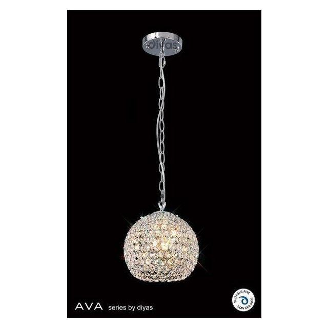 IL30190 Ava 3 Light Chrome And Crystal Ceiling Pendant