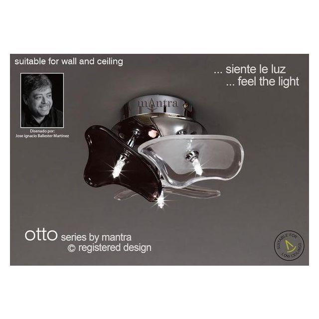 M0704 Otto 3 Light Halogen Chrome Black And White Flush Lamp