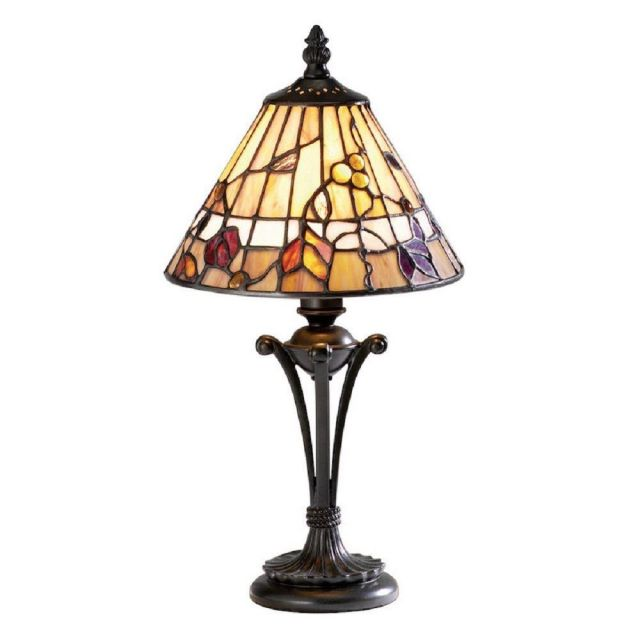 Interiors 1900 63950 Bernwood Tiffany Small 1 Light Table Lamp In Bronze With Shade