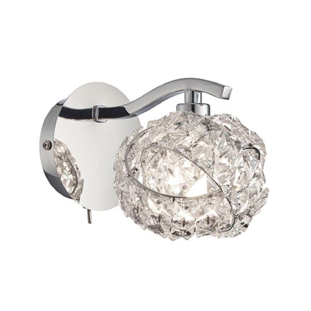 Endon 77567 Talia 1 Light Wall Light In Chrome Plate And Clear Crystal Glass