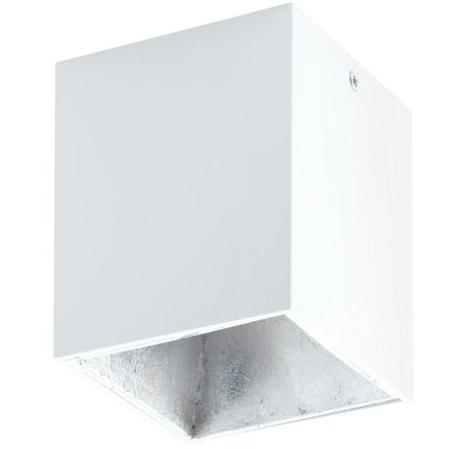 Eglo 94499 Polasso One Light Cubed LED Ceiling Light In White And Silver