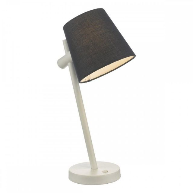 BEU4123 Beula Table Lamp In White With Blue Cotton Shade