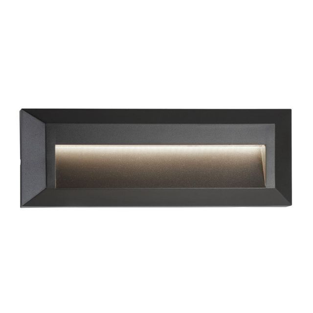 Searchlight 8732GY Ankle Rectangular Recessed Outdoor Wall Light With Curve In Grey-Length: 2280mm