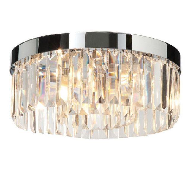 Saxby 35612 Stunning IP44 Crystal Bathroom Flush Ceiling Light Polished Chrome