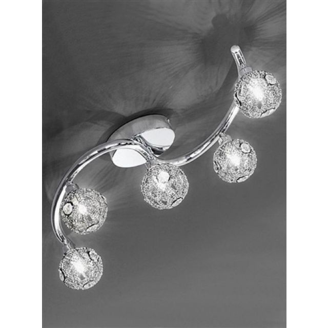 F2305/5 Atoms 5 Light Chrome and Crystal Ceiling light