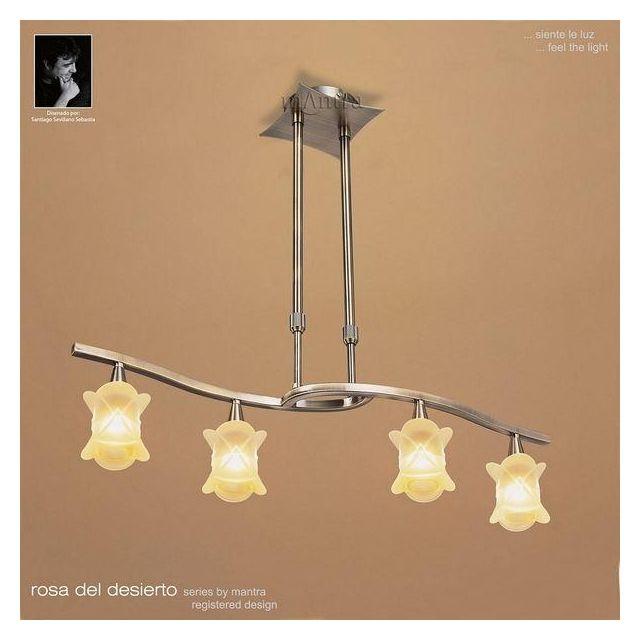 M0040AB Rosa Del Desierto 4 Lt Antique Brass Semi-Flush Pendant