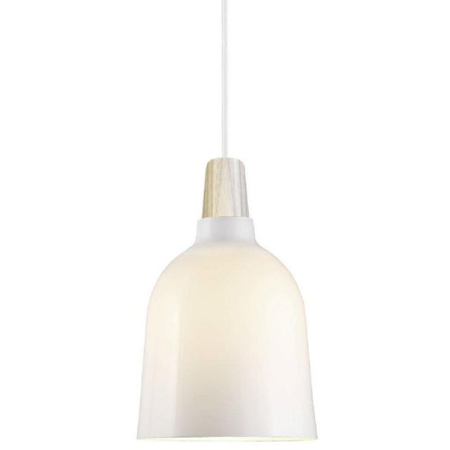 Nordlux 43443012 Karma 20 Ceiling Pendant In Nordic Opal White And Ash Wood - Dia: 200mm