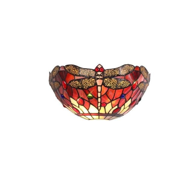 Bokmaal 2 Light Wall Light With Purple, Pink And Black Tiffany Shade