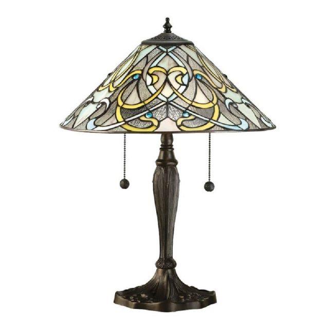 Interiors 1900 64055 Dauphine Tiffany Medium 2 Light Table Lamp In Bronze With Shade