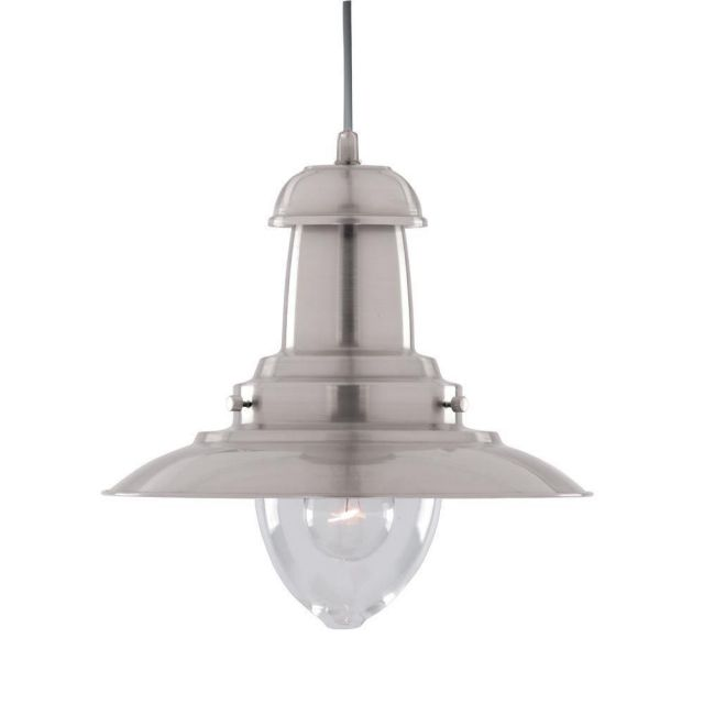 Searchlight 4301SS Large Fisherman Ceiling Pendant In Satin Silver