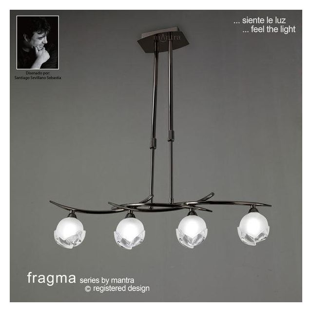 M0810BC Fragma 4 Light Black Chrome Semi-Flush Pendant