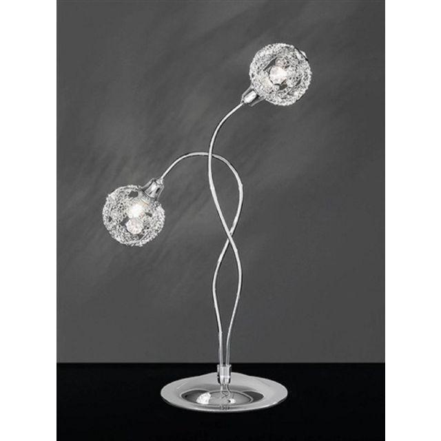 T967 Atoms 2 Light Chrome Crystal Table Lamp