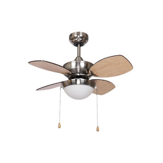 Fantasia 115557 Kompact 4 Blade Ceiling Fan In Nickel With Maple/Oak Blades And LED Light