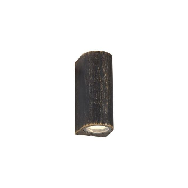 Poole 2 Light Outdoor Wall Light In Black And Gold