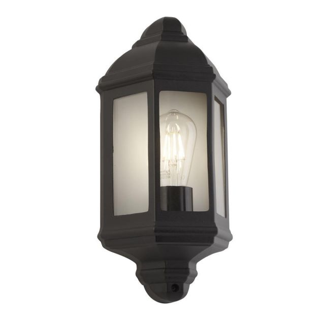 Traditional IP44 Outdoor Half Wall Light in Black with Clear Glass Panels