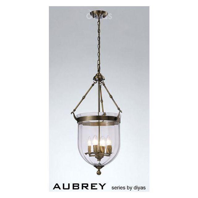 IL31077 Aubrey 4 Light Antique Brass Ceiling Pendant