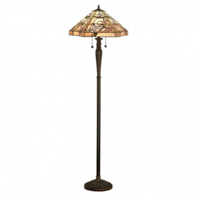 Interiors 1900 64018 Clematis Tiffany 2 Light Floor Lamp In Bronze With Shade