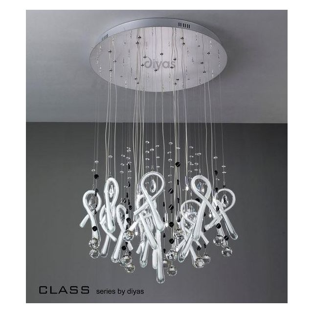 IL50406 Class White Glass And Crystal 10 Light Pendant