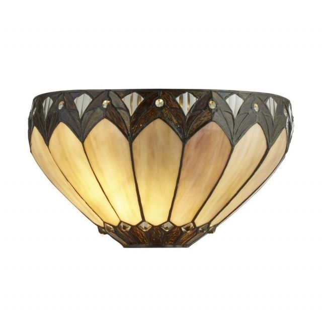 Searchlight 6704-1 Pearl Wall Light In Antique Brass With Tiffany Glass