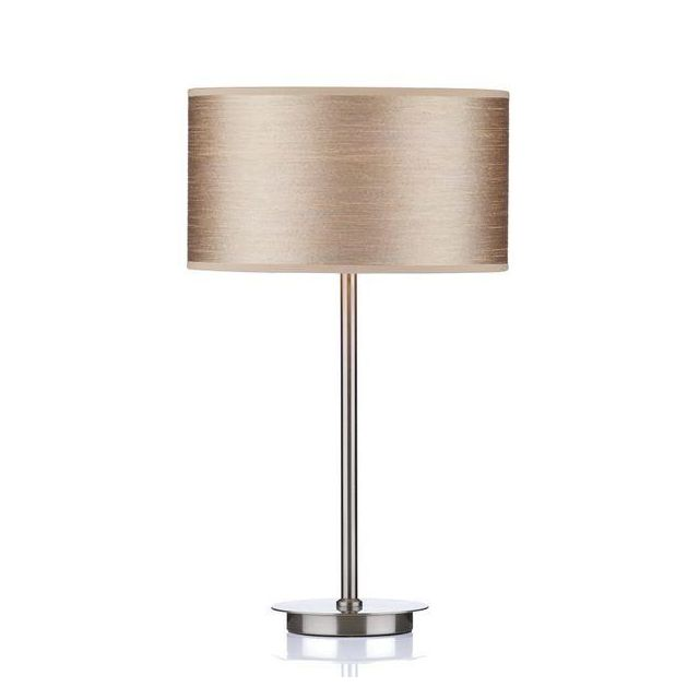 Dar TUS4046 Tuscan Table Lamp In Satin Chrome With Taupe Shade