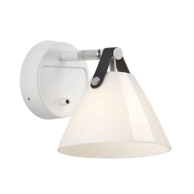 Nordlux 46241001 Strap 15 1 Light Wall Light In Opal White Glass With White Cable