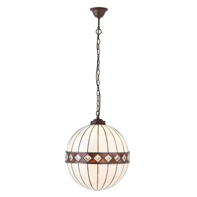 Interiors 1900 67045 Fargo Tiffany Medium 1 Light Globe Ceiling Pendant Light