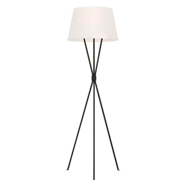 FE-PENNY-FL-AI Penny 1 Light Floor Light In Aged Iron With White Linen Shade