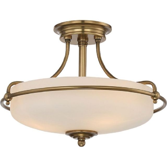 QZ/GRIFFIN/SFS WS Griffin 3 Light Semi-Flush Ceiling Light In Weathered Brass