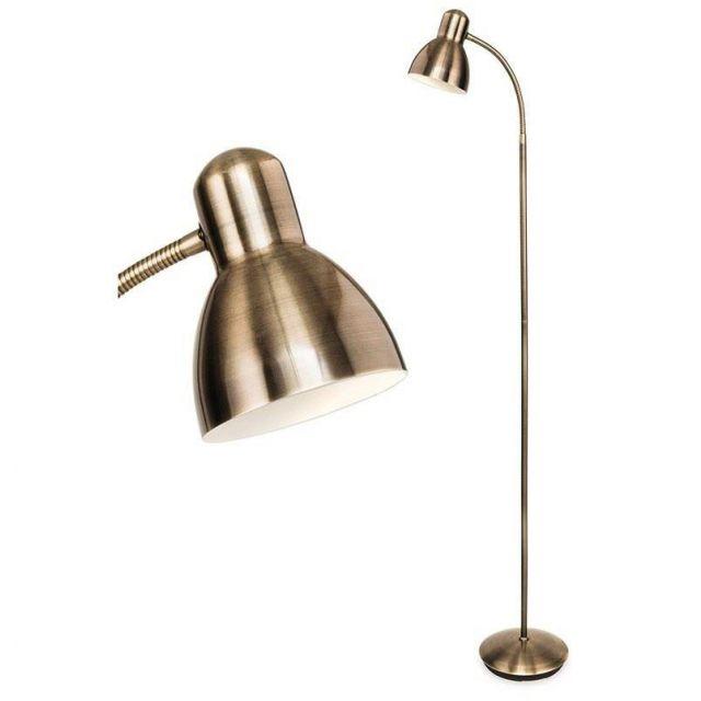 Firstlight 3745AB Morgan Adjustable Reading Floor Light In Antique Brass