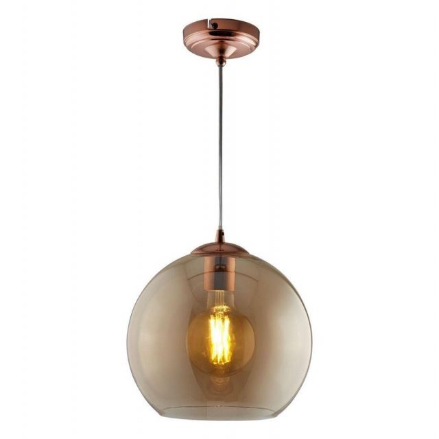 Searchlight 1635AM Balls One Light Ceiling Pendant In Antique Brass And Amber Glass - Width: 350mm