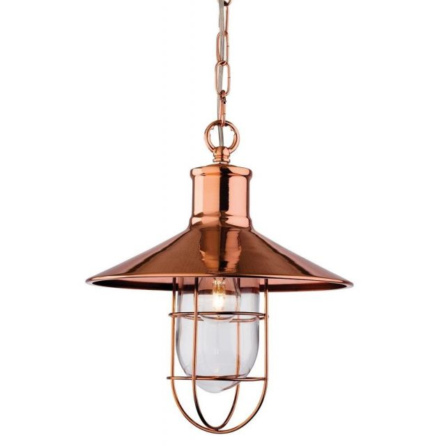 Firstlight 2306CP Crescent 1 Light Hanging Ceiling Lantern in Copper