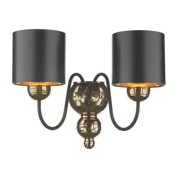 David Hunt Lighting GAR0973 Garbo 2 Light Bronze Wall Lamp With Black Shades