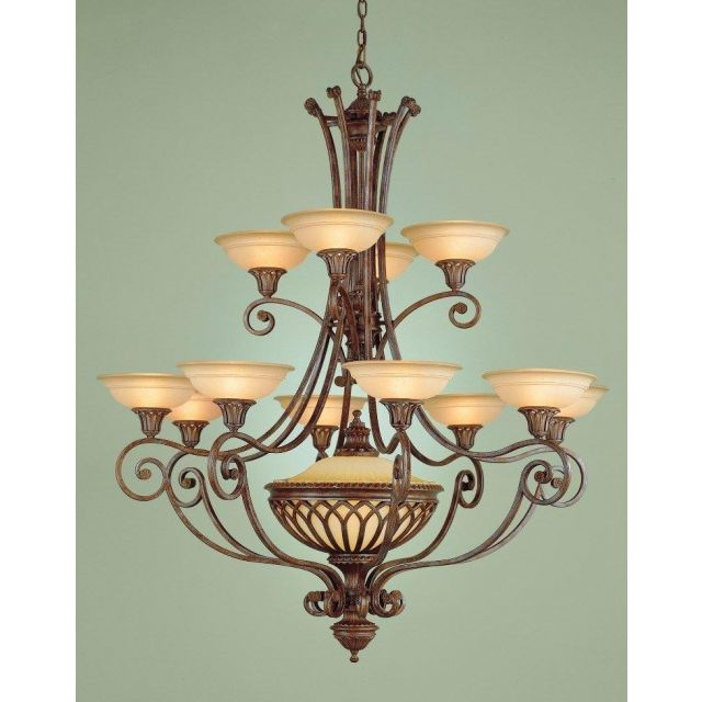 FE/STIRLINGCAS12 Stirling Castle 12 Light Chandelier in British Bronze with Shades