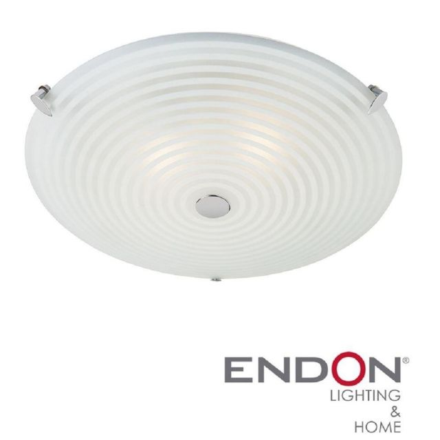 Endon 633-32 Roundel Frosted and Clear Glass Flush Ceiling Light