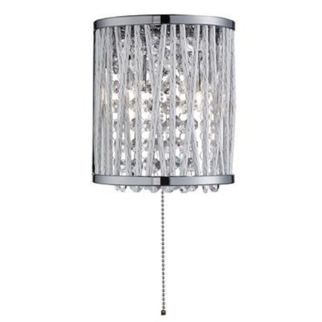 Searchlight 7222-2CC Elise 2 Light Wall Light In Chrome With Crystal Droplets