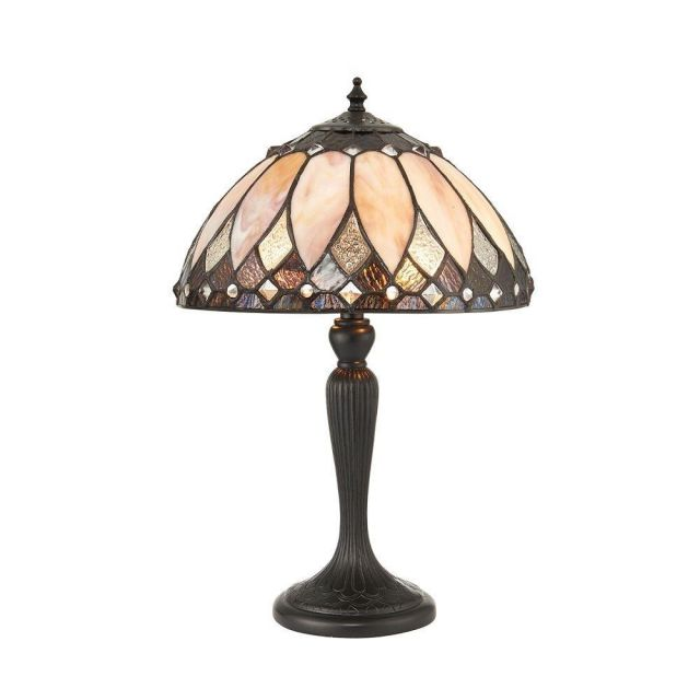 Interiors 1900 70366 Brooklyn Tiffany Small 1 Light Table Lamp In Cream