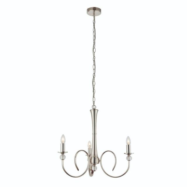 Interiors 1900 73907 Fabia 3 Light Ceiling Pendant In Polished Nickel - Fitting Only
