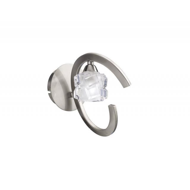 Mantra M1855/S Ice 1 Light Switched Wall Light In Satin Nickel