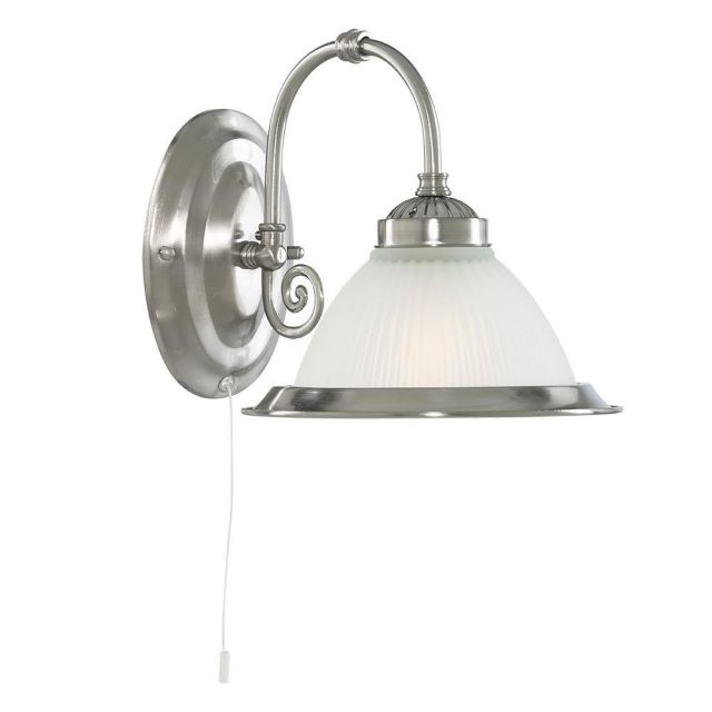 Searchlight 1041-1 American Diner 1 Light Wall Light In Satin Silver.